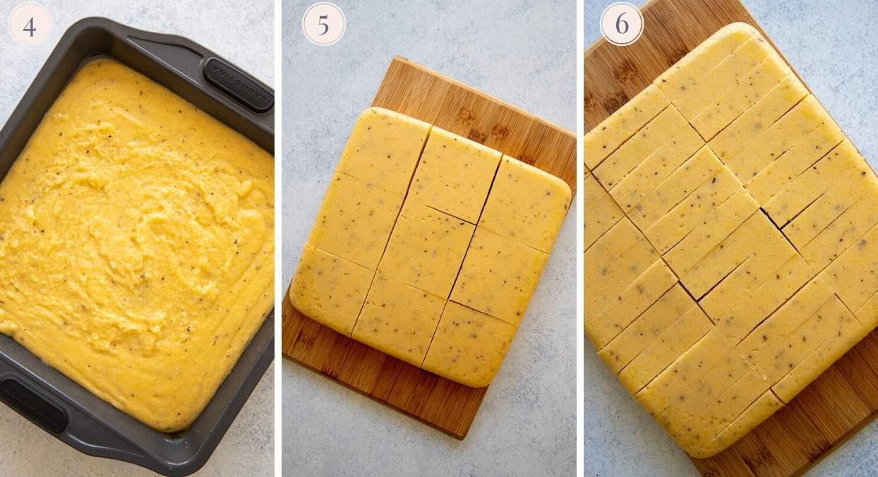 picture collage demonstrating how to pour polenta batter into a mold to make fries