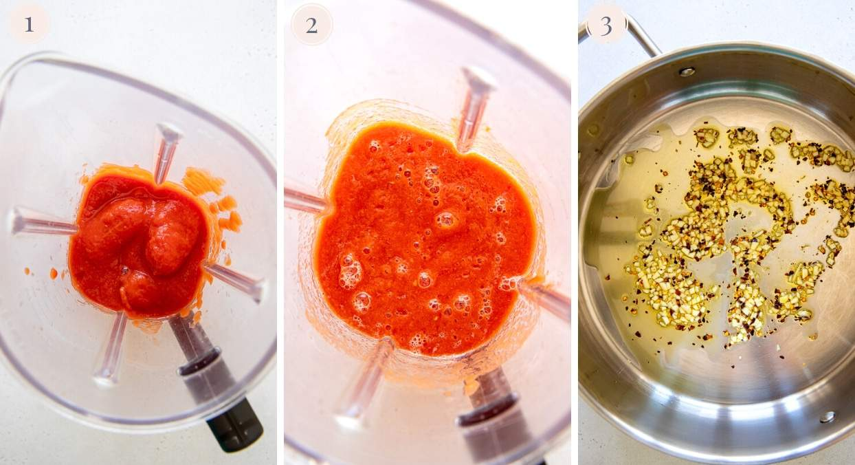 picture collage demonstrating how to blend tomatoes and fry garlic for making dairy free vodka sauce recipe