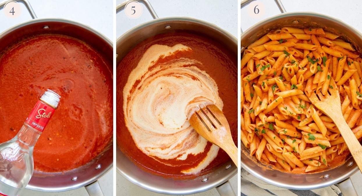 vodka, cashew cream and penne pasta being added to dairy free creamy vodka sauce in a silver pot