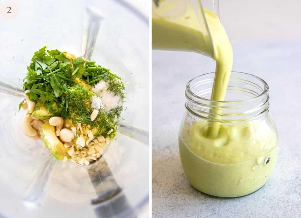vegan avocado ranch dressing being made in blender, then transferred to mason jar