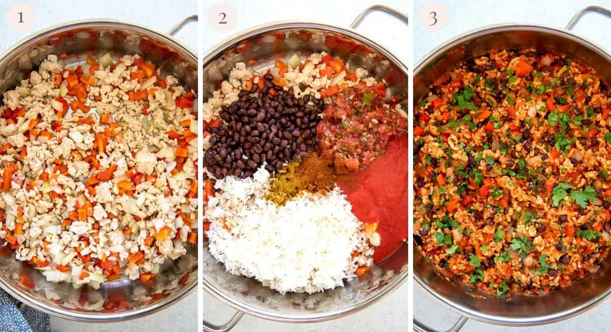 picture collage demonstrating how to make Mexican Ground Turkey Rice Bowls
