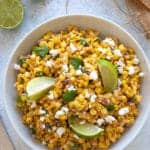 overhead shot of a bowl of Mexican Street Corn Salad with creamy Greek Yogurt dressing