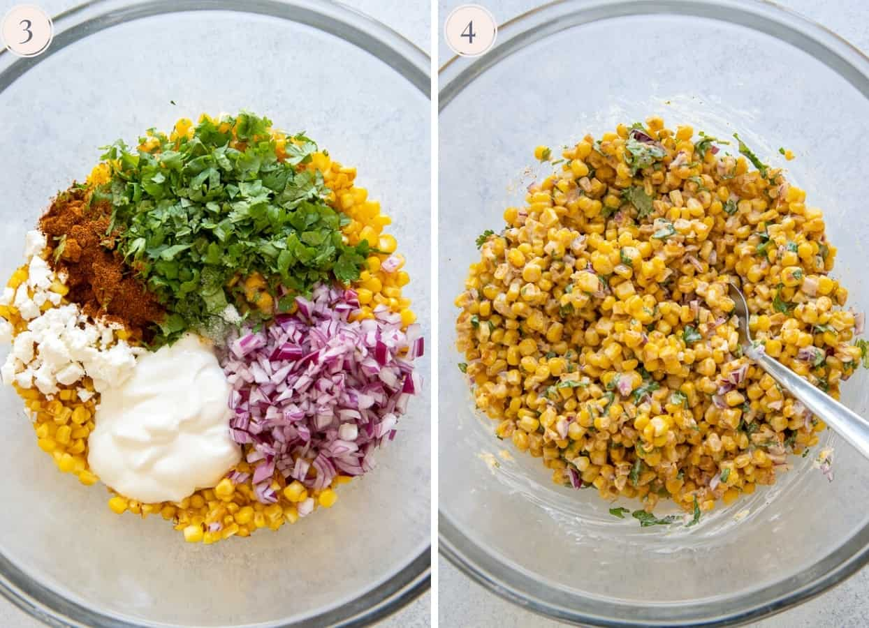 ingredients for healthy no mayo Mexican Street Corn Salad being mixed in a glass bowl