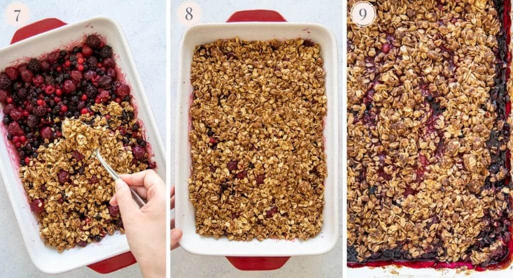 picture collage demonstrating how to make a healthy berry crisp