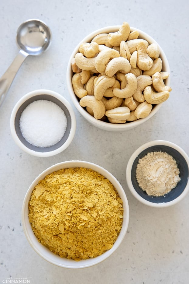 overhead shot of all ingredients needed for making vegan parmesan cheese