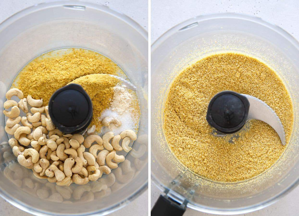 picture collage demonstrating how to make vegan parmesan cheese in a food processor
