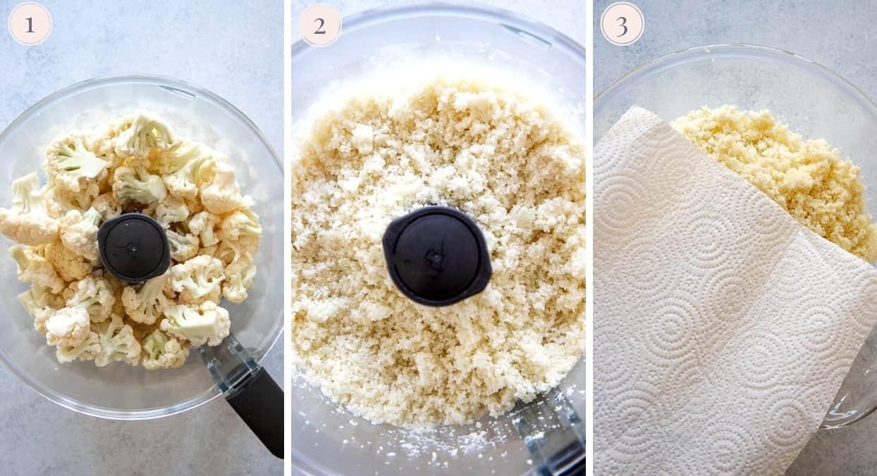 picture collage demonstrating how to rice cauliflower to make cauliflower gnocchi recipe