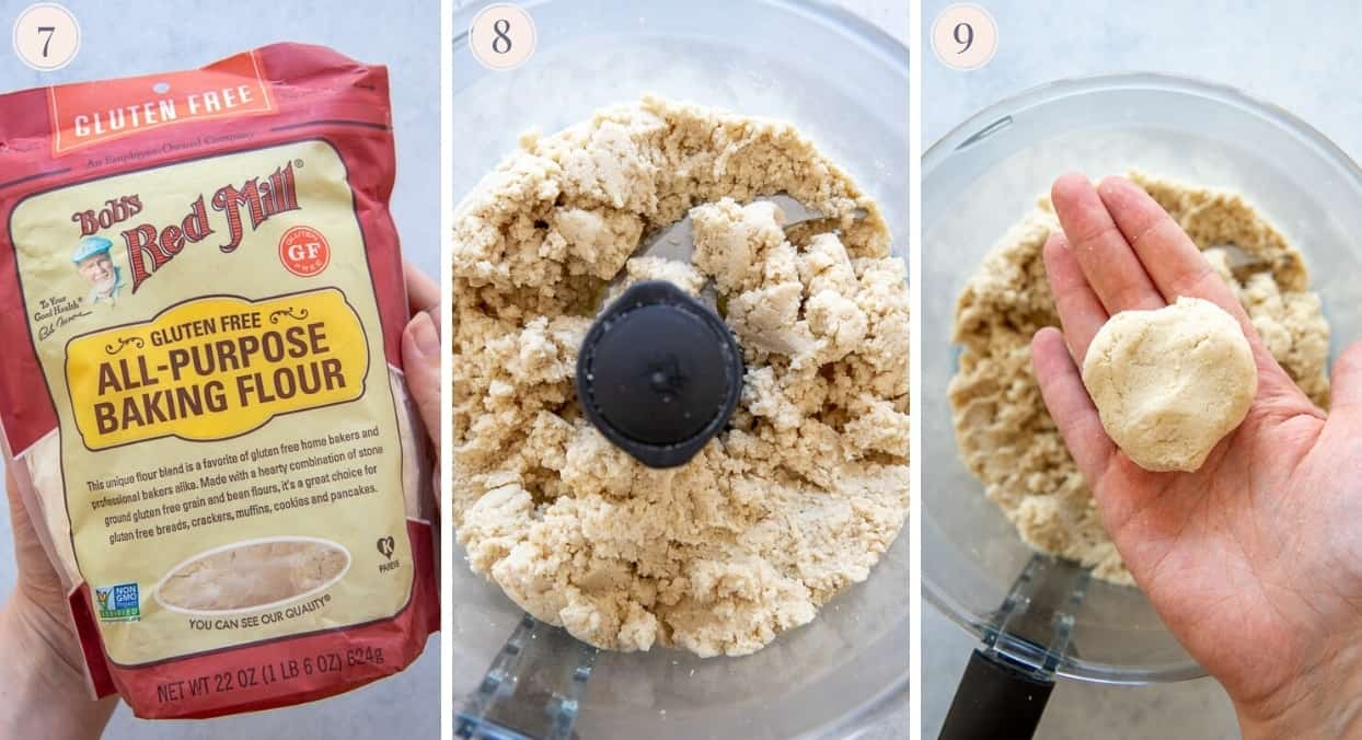 picture collage demonstrating how to make cauliflower gnocchi in a food processor