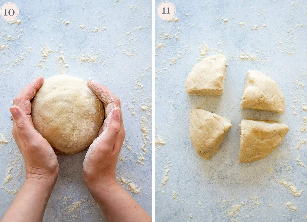 cauliflower gnocchi dough being shaped and cut on a floured surface
