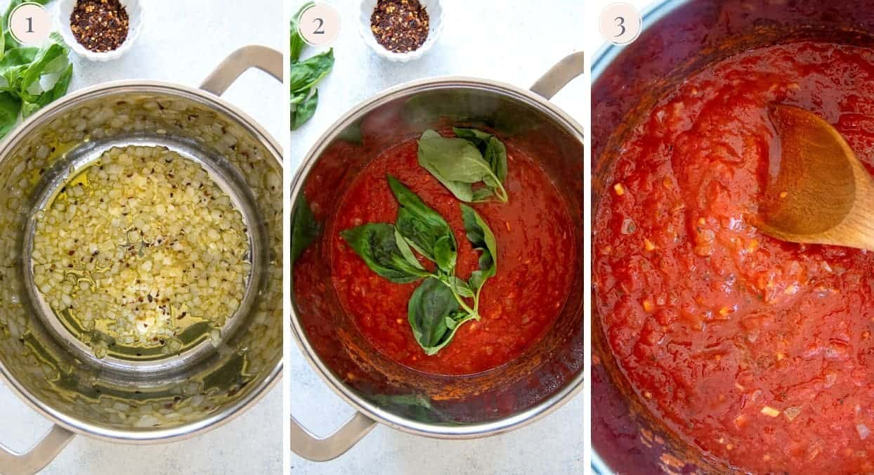 photo collage demonstrating how marinara sauce is being prepared in a sliver pot