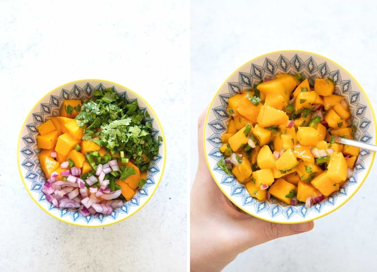 picture collage of mango salsa being mixed in a bowl