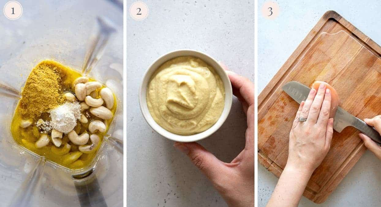 picture collage of how to make dairy-free cheese sauce for healthy chicken parmesan