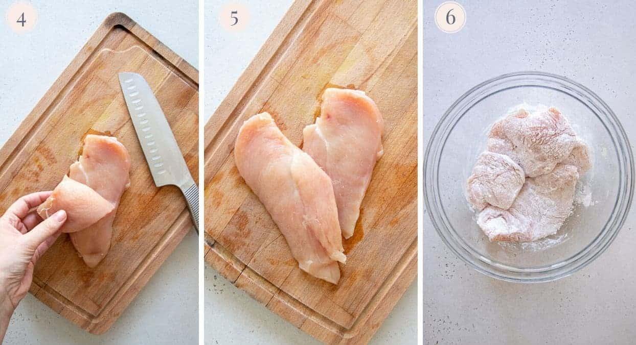 chicken breasts being prepared to make healthy chicken parmesan