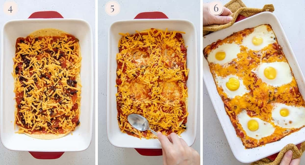 Image collage showing how to layer ingredients to prepare a Mexican casserole