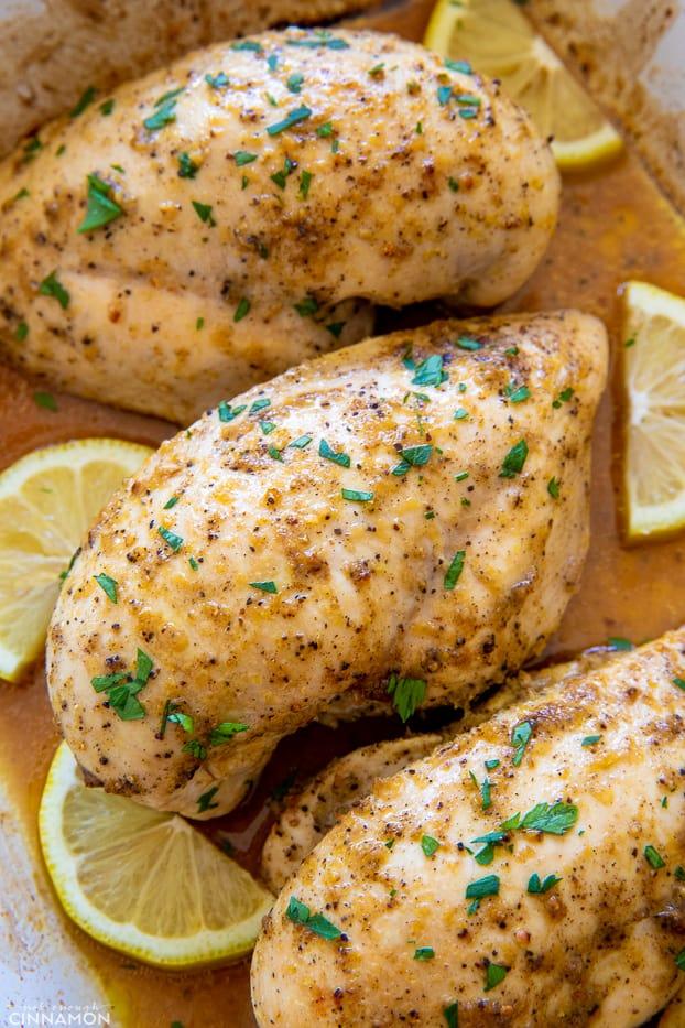 overhead shot of lemon pepper baked chicken breast