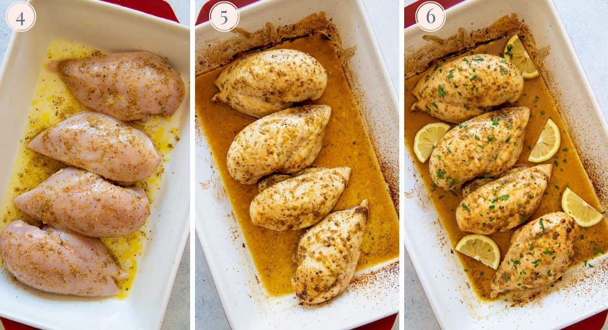 picture collage demonstrating how to bake lemon pepper chicken in a casserole dish