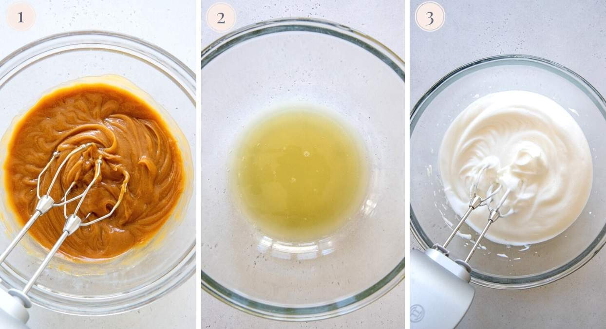picture collage demonstrating how to make vegan peanut butter mousse with aquafaba