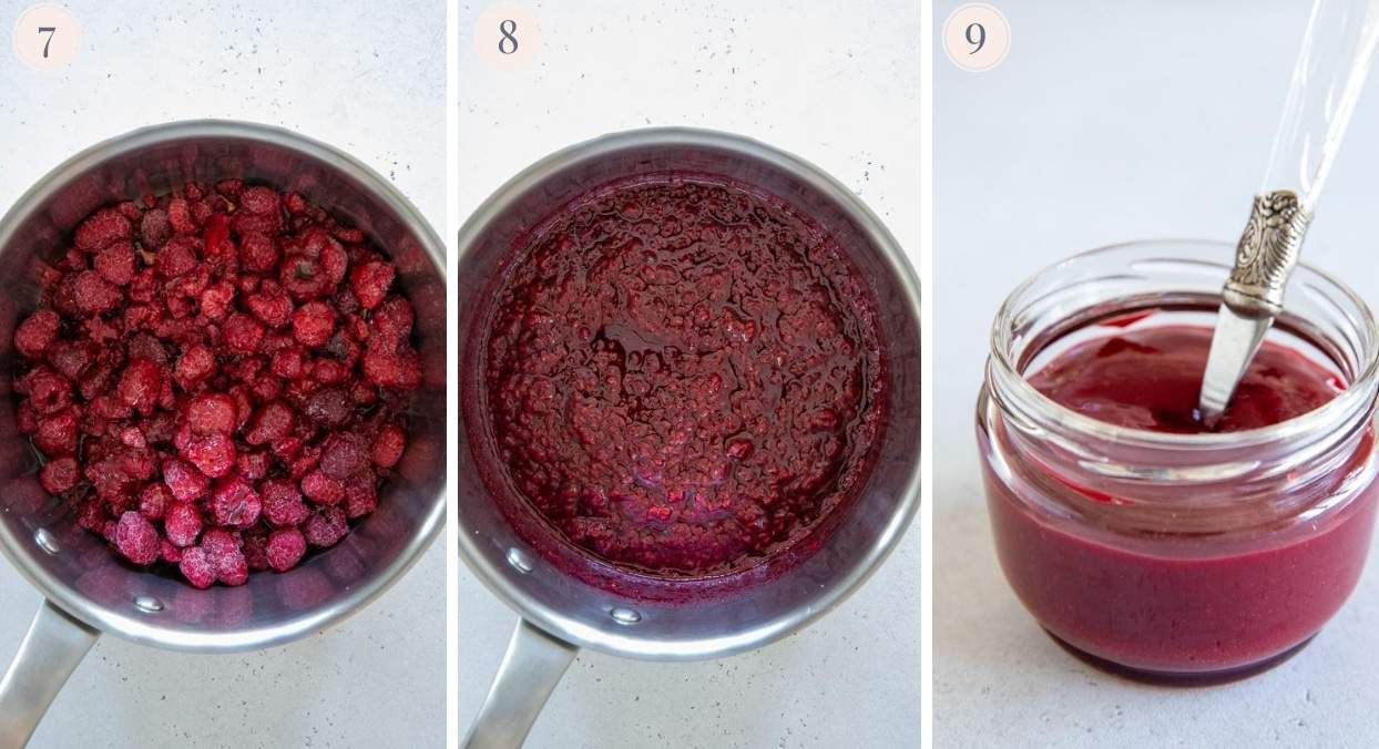quick vegan raspberry jam topping for pb and j parfaits being prepared in a pot