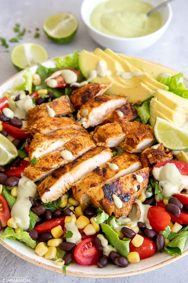 Healthy Southwestern Chicken salad with drizzled with avocado Ranch Dressing