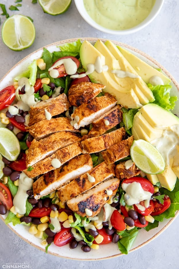 Southwestern Chicken Salad served on a platter with avocado ranch dressing