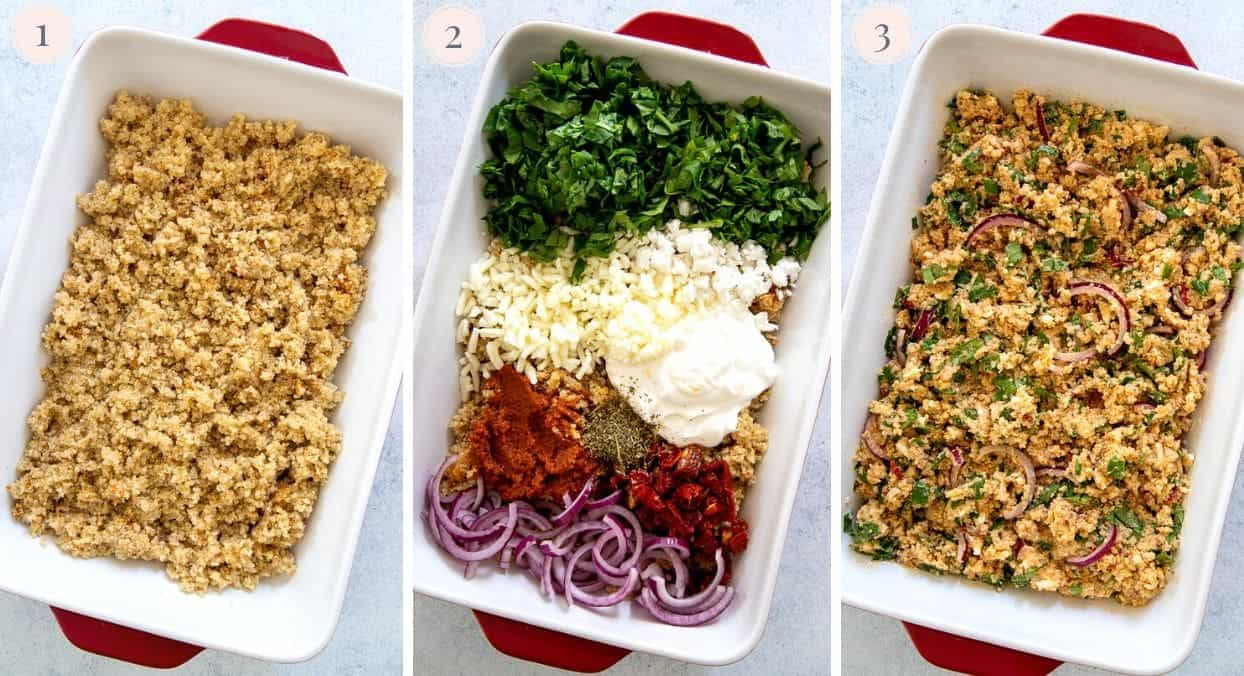 picture collage demonstrating how to mix cooked quinoa with veggies and cheese to make quinoa casserole