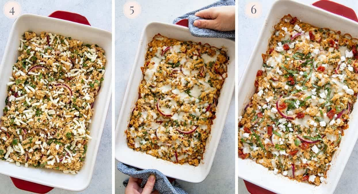 a picture collage demonstrating how to assemble and bake a Mediterranean quinoa casserole