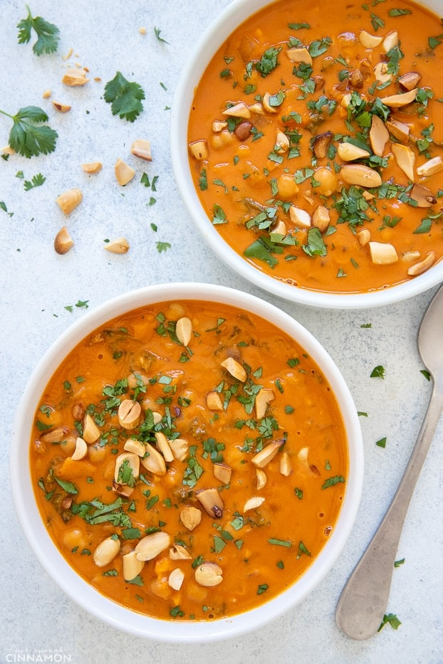 two bowls of African Peanut Soup