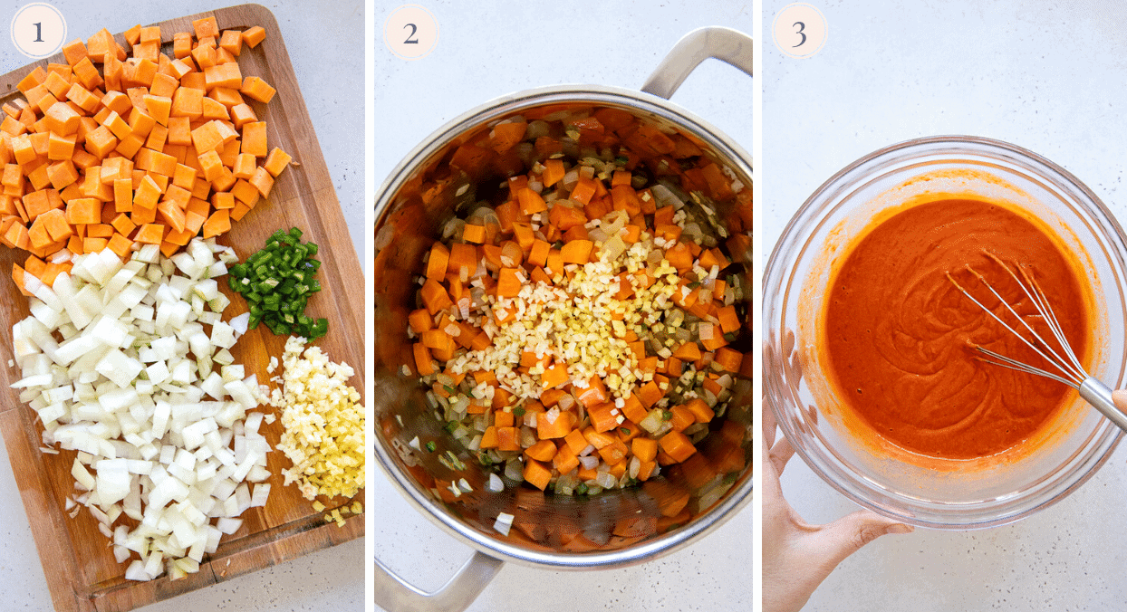 picture collage demonstrating how to prep veggies for making West African Peanut Soup