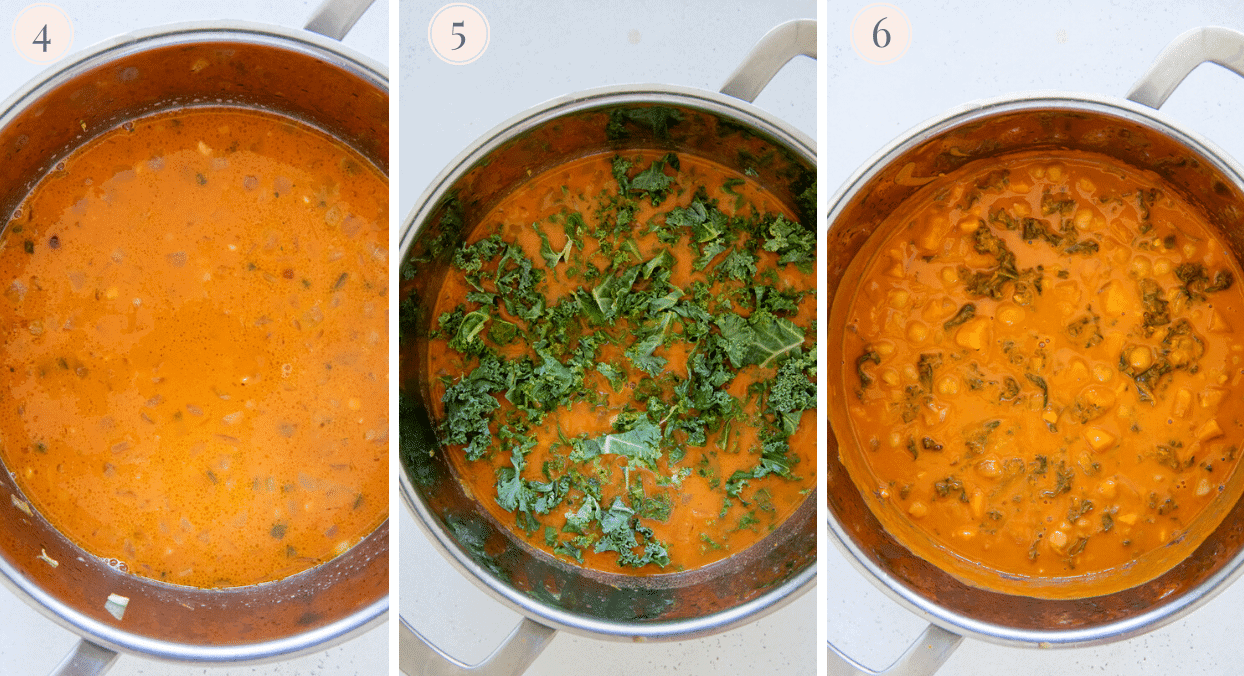 picture collage demonstrating how to make African peanut soup