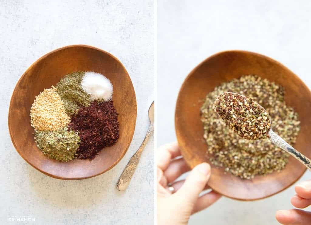 picture collage demonstrating how to make zaatar spice blend