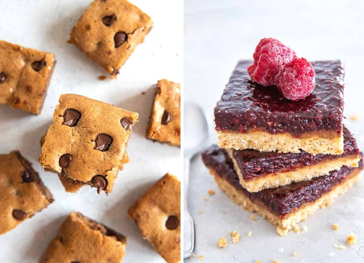 picture collage of almond butter blondies and bars