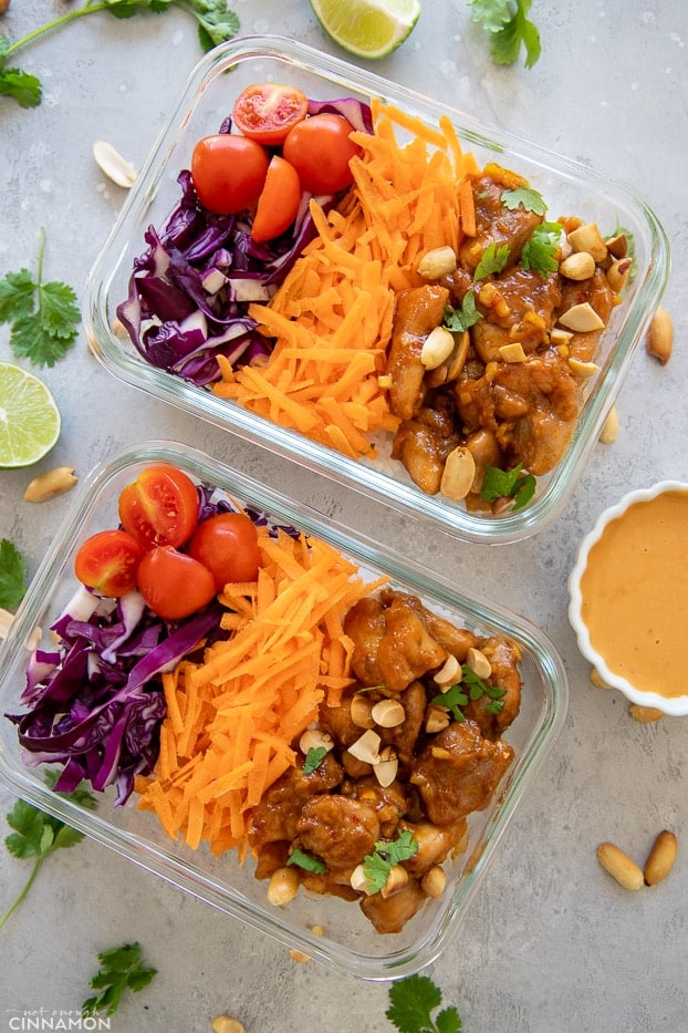 meal prep containers with Thai peanut butter chicken