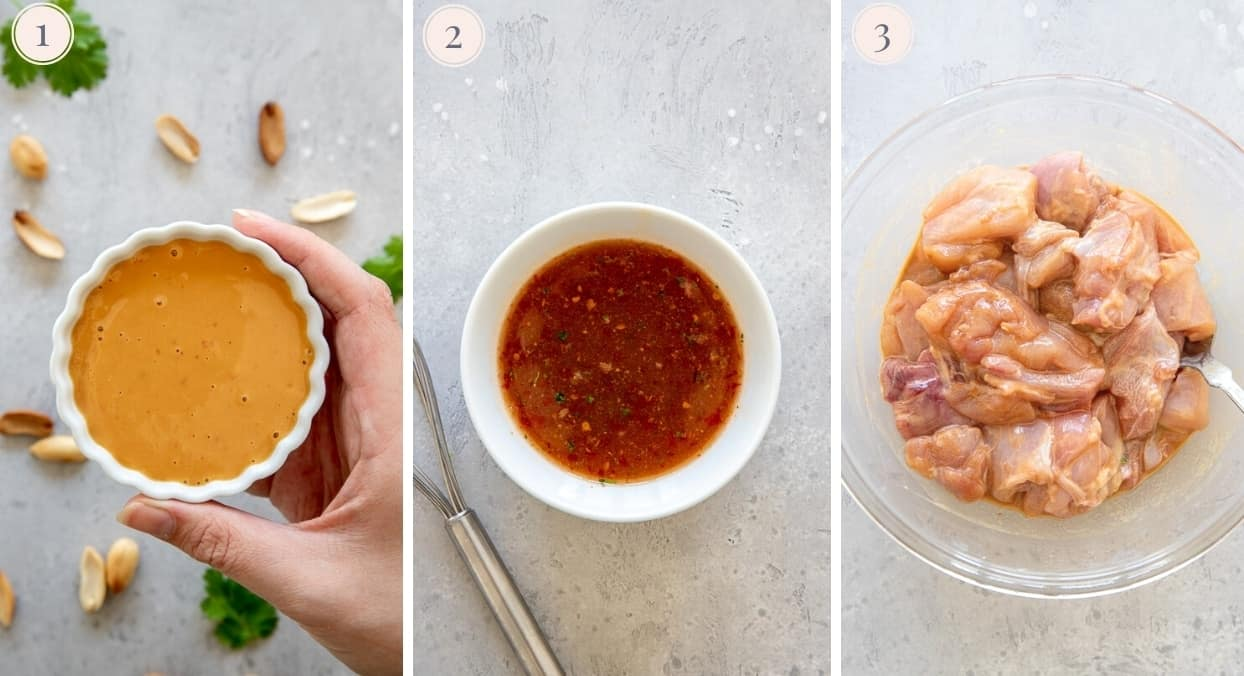a picture collage showing how to make peanut sauce and stir-fry sauce for chicken