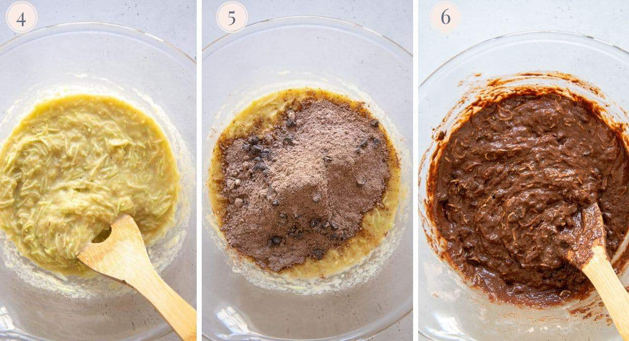 chocolate zucchini bread batter being mixed in a glass bowl