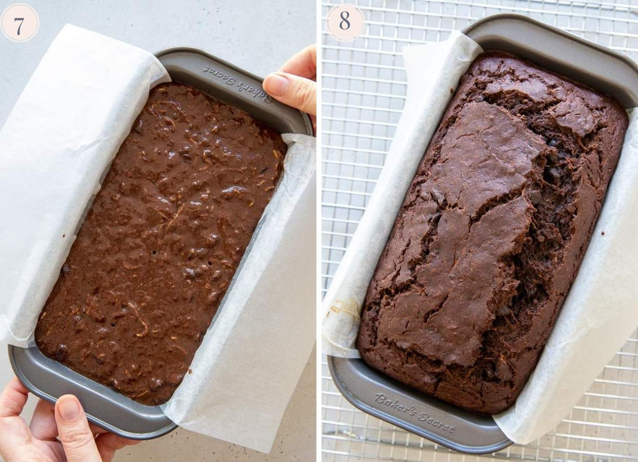 picture collage showing a chocolate zucchini bread before and after baking