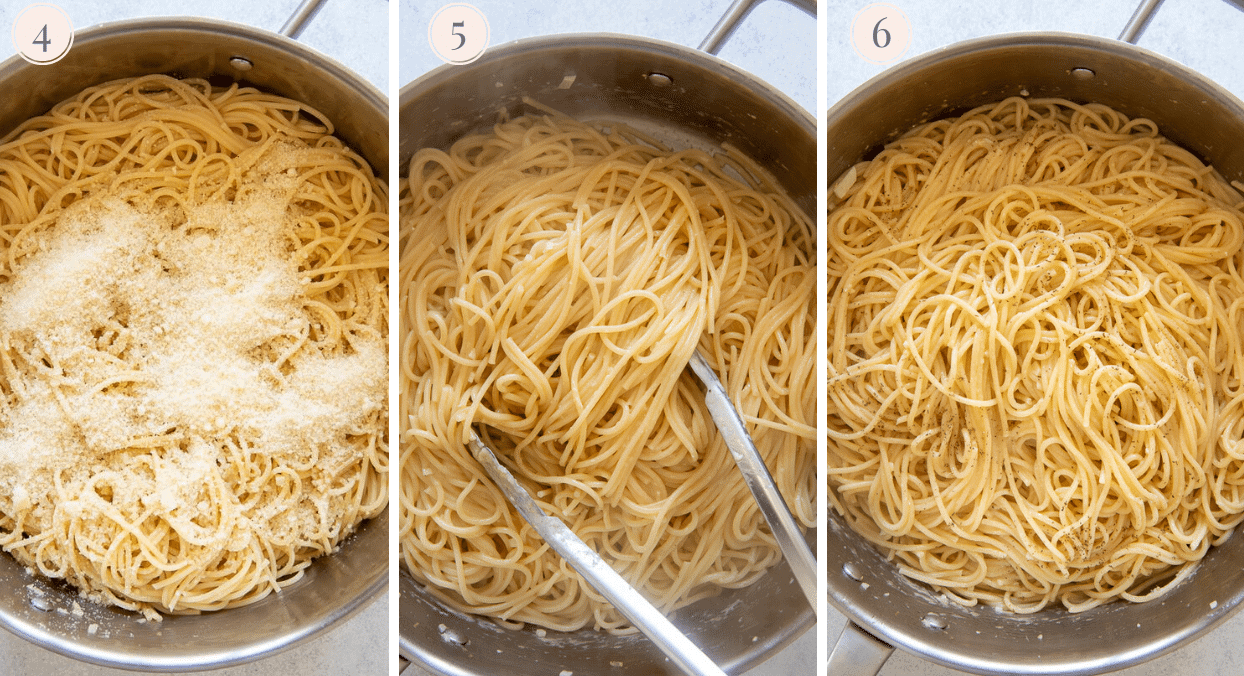 pasta being tossed with garlic butter, lemon juice and grated parmesan cheese to make easy lemon pasta
