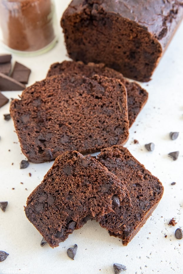 slices of healthy gluten-free chocolate zucchini bread studded with chocolate chips