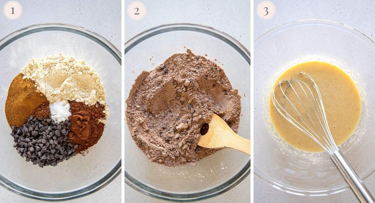 picture collage demonstrating how to make chocolate zucchini bread batter
