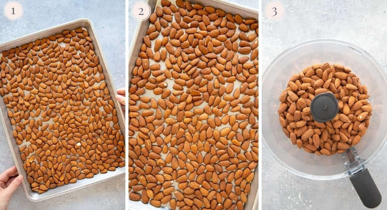 picture collage demonstrating how almonds are being toasted for making almond butter at home
