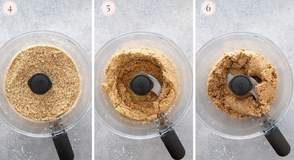 almonds being ground in a food processor to make almond butter