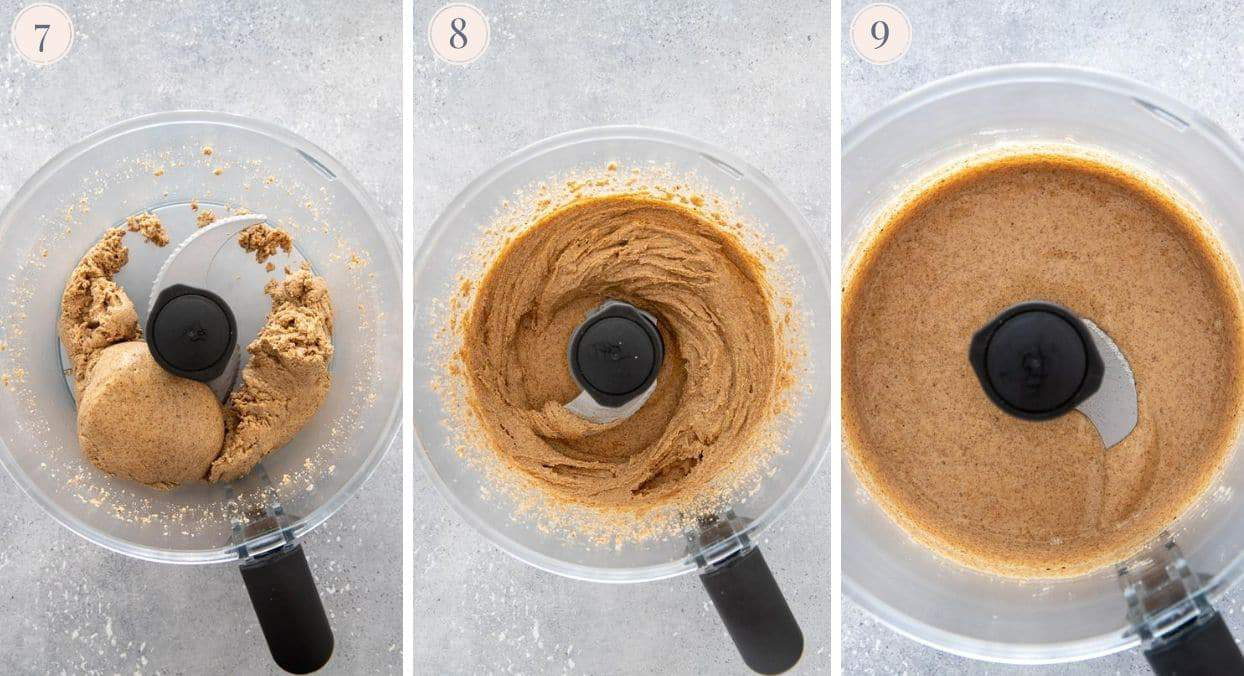 collage demonstrating the stages of almonds being ground to almond butter
