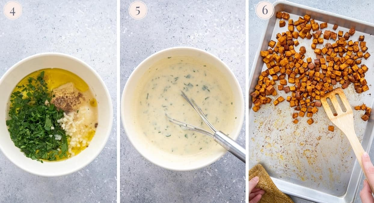 picture collage demonstrating how to make creamy dressing for sweet potato salad