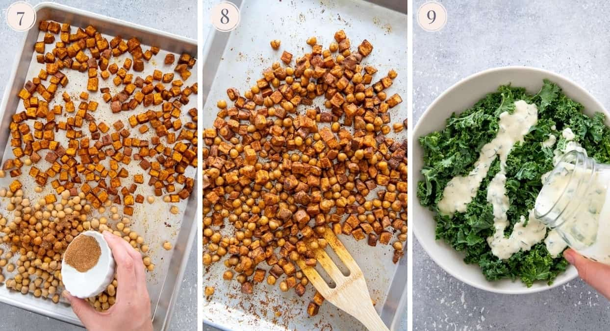 picture collage demonstrating sweet potatoes being roasted along with chickpeas