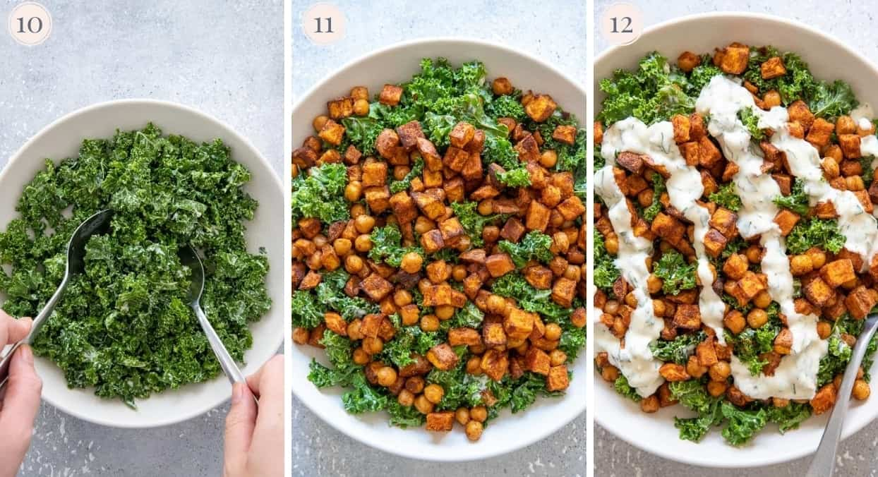 roasted sweet potato chickpea salad being tossed in a bowl with creamy dressing