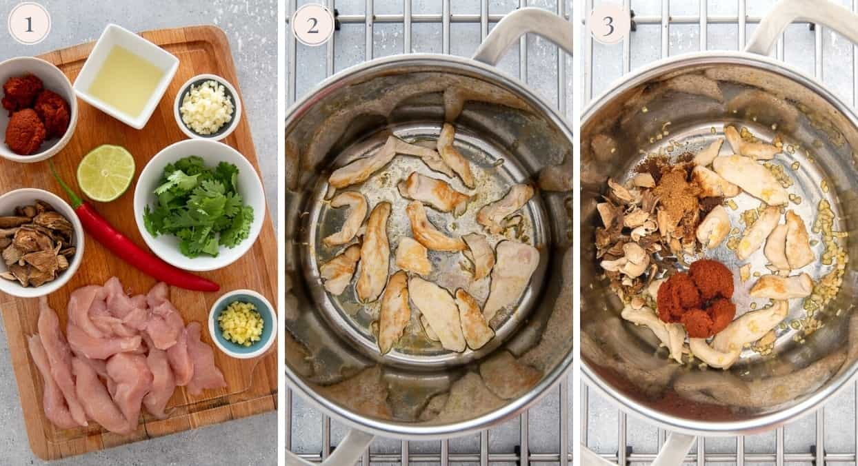 a picture collage demonstrating how to brown chicken and spices to make Thai Noodle soup in one pot