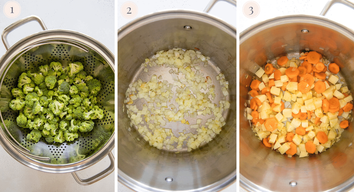 picture collage demonstrating how to make vegan cheese soup