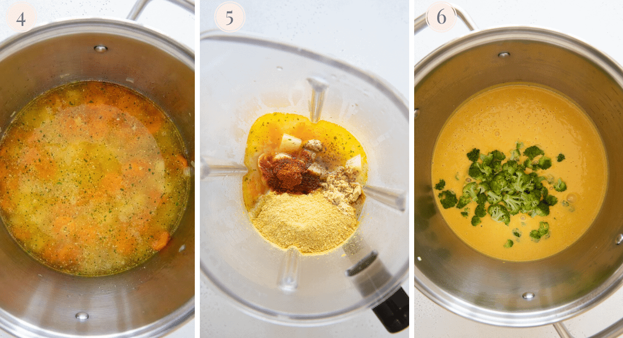 picture collage demonstrating how to blend vegan broccoli cheese soup in a blender