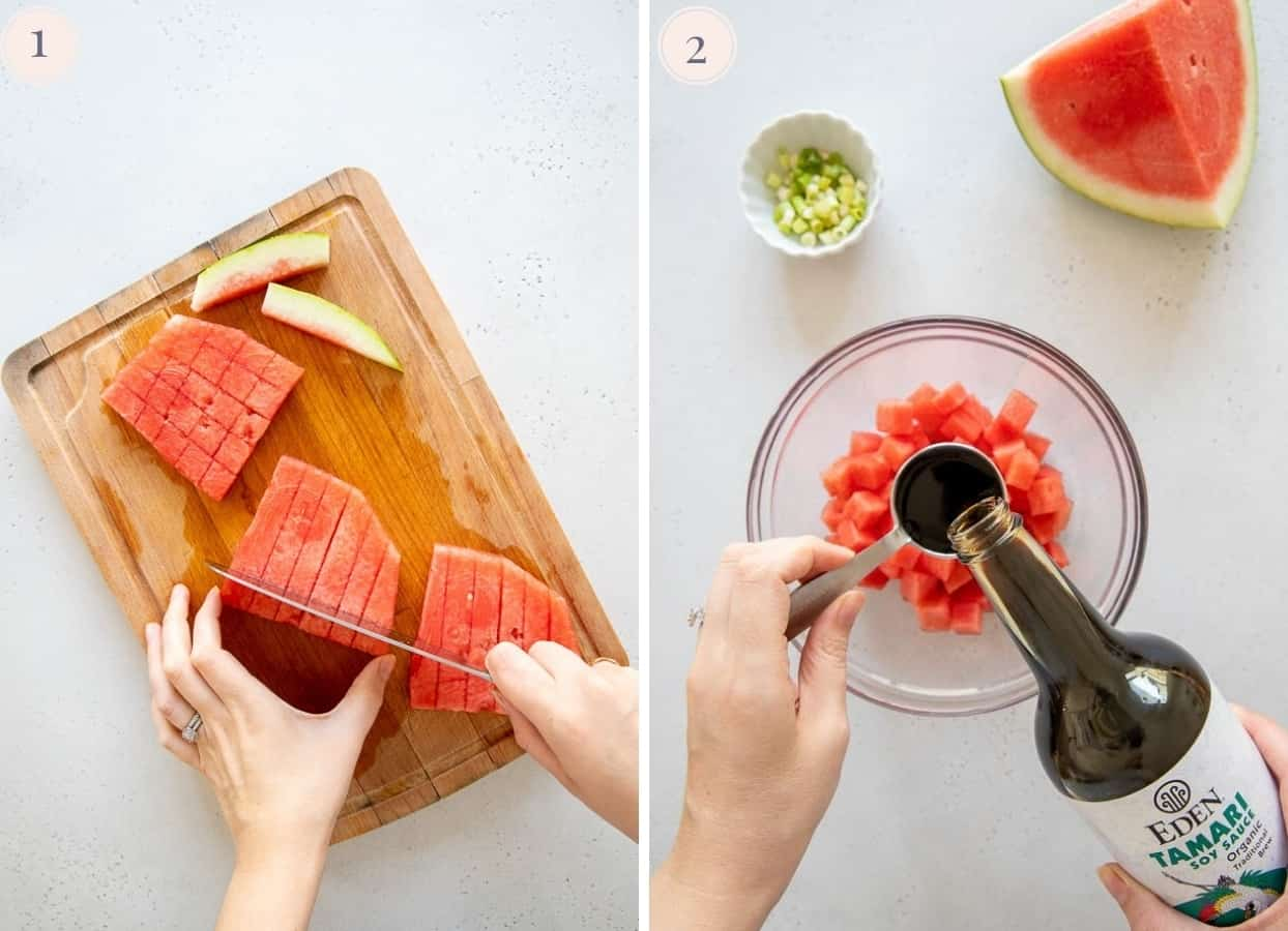 picture collage demonstrating how to make watermelon tuna for vegan poke bowl recipe