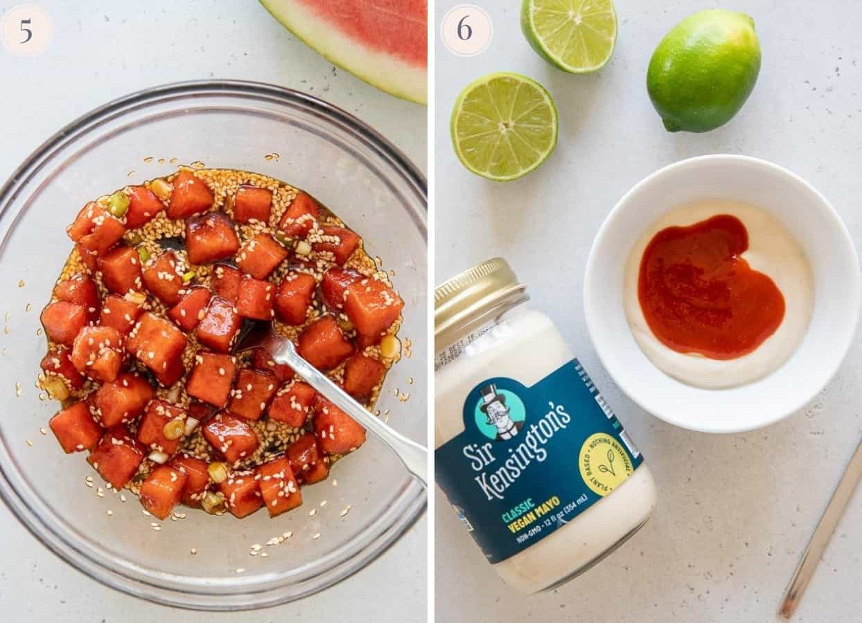 picture collage showing a bowl of watermelon tuna and a small bowl with sriracha mayo