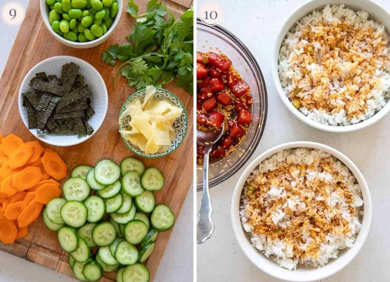 picture collage of poke bowl ingredients on a wooden board next to two bowls of sushi rice and watermelon tuna